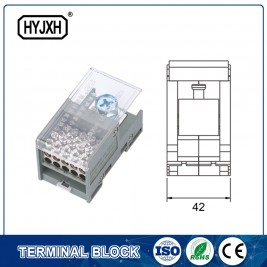 FJ6-JTS2EB Single pole DIN rail type connection terminal(Three inlet)  max inlet wire :120,150 mm sq