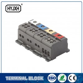 Din rail type three phase four wire Color separation connection terminal block for measuring box