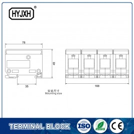 FJ6-JTS2EB Three Phase four Wire DIN rail type connection terminal  max inlet wire :120,150 mm sq