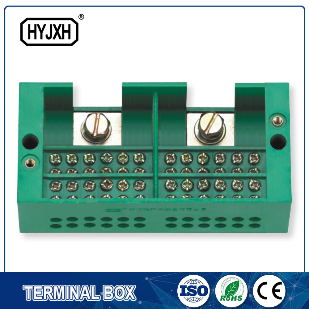 Twee inlaat, multi-outlet verband terminale blok vir meting boks